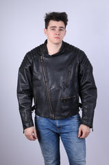 MIRAGE Styled By DIFI Mens 58 XL Motorcycle Jacket Black Leather For Pilots Biker Top