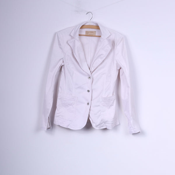 Marc Aurel Jeans Womens S Blazer White Jacket Single Breasted Cotton Top