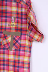 JR Mens L (S) Casual Shirt Check Pink Cotton Stand-Up Collar Fit Top