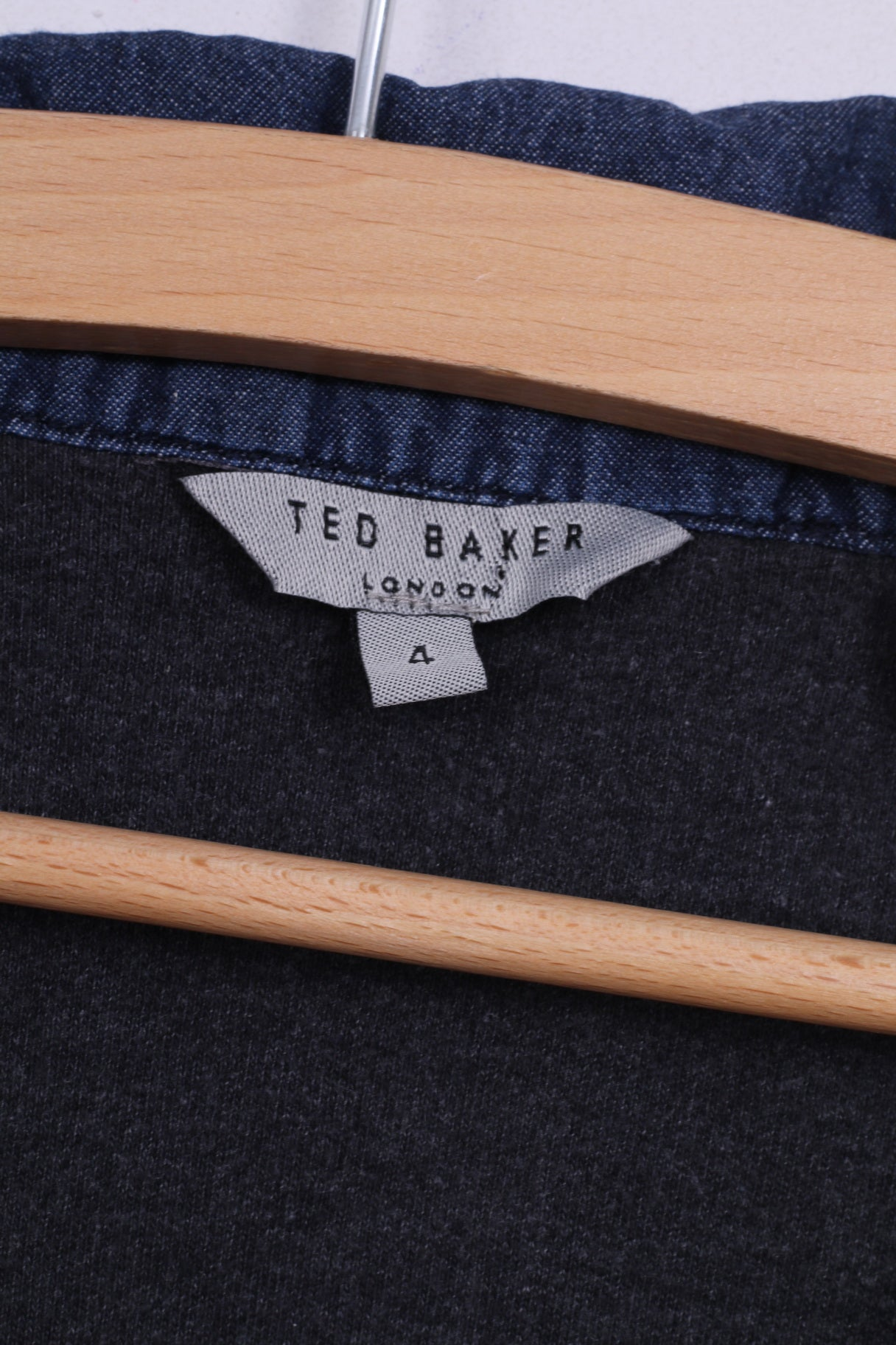 f822f68c349f63 ... Ted Baker Mens London 4 M Jumper Dark Grey Patch Cotton Stand-Up Collar  ...