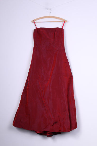 Debenhams Debut Womens 10 Dress Red Shiny Party Bandeau Netting Ball Gown