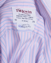 T.M. Lewin Mens 16 / 35 XL Striped Regular Fit Purple Cotton - RetrospectClothes