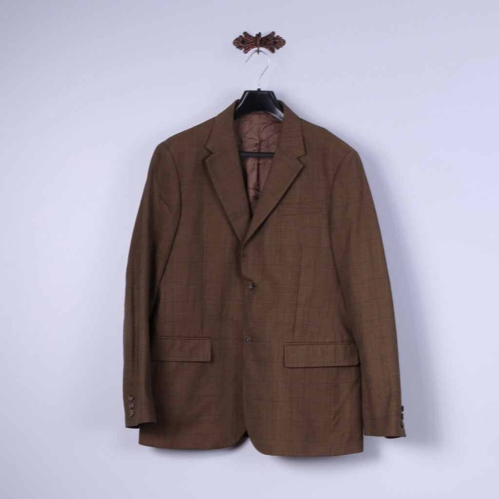 United Colors Of Benetton Mens 54 44 Blazer Brown Check Cotton Wool Blend Jacket
