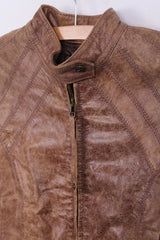 SOVIET Womens 10 M Jacket Soft Leather Stand-Up Collar Beige