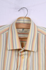 Marconi Collection Mens 40 176/182 M Casual Shirt Striped Yellow Cotton Long Sleeve Top
