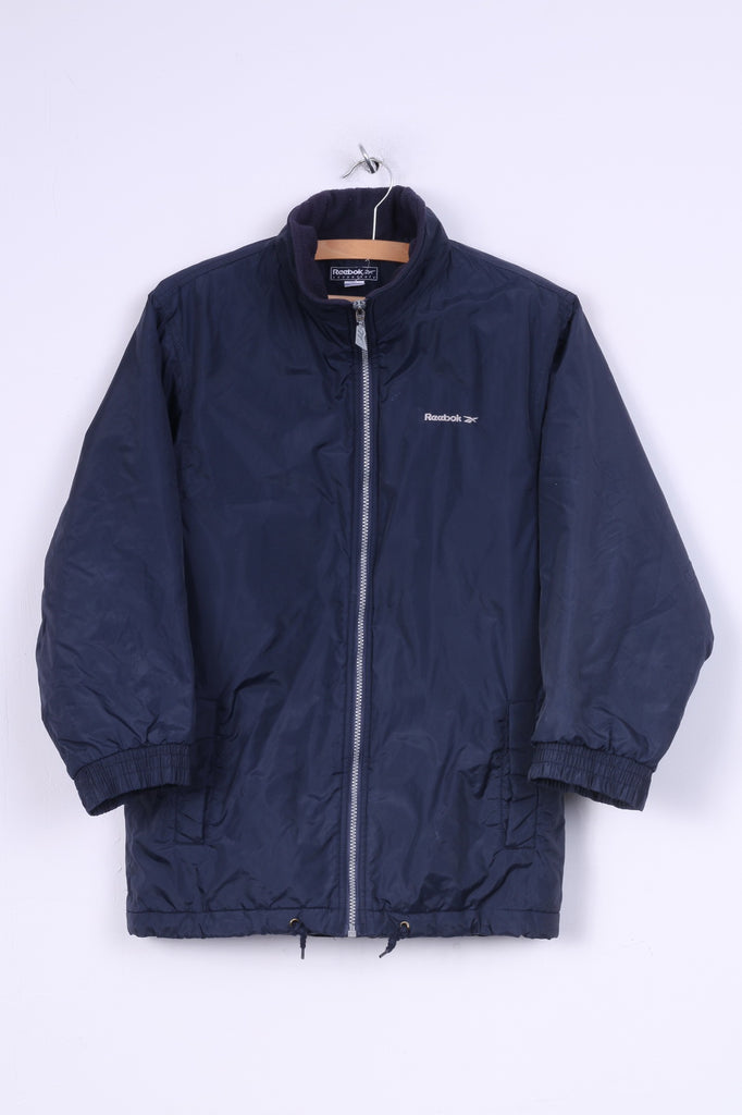 Reebok Essentials Boys 30'' 140cm Jacket Full Zipper Padded Navy Nylon Waterproof