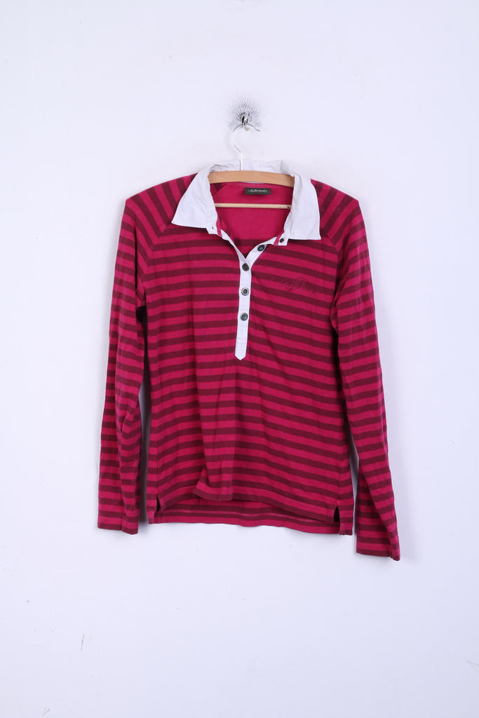 Peak Performance Womens L Polo Shirt Long Sleeve Striped Cotton