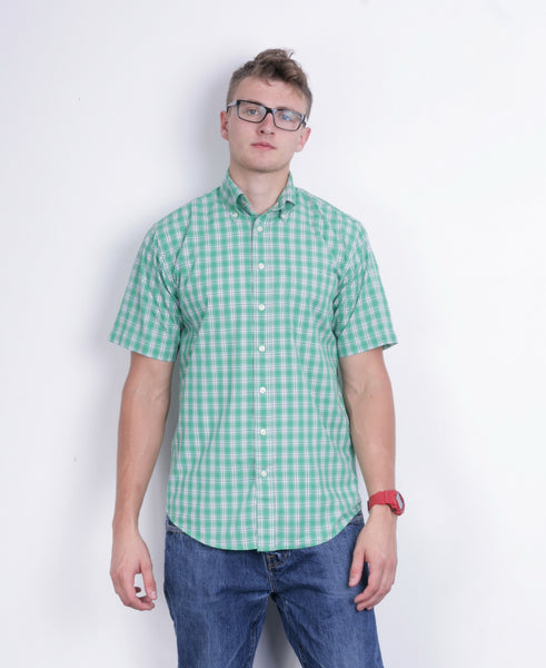 A.W. Dunmore Mens S Casual Shirt Green Check Cotton Short Sleeve - RetrospectClothes