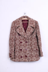 Ebeco Womens L Jacket Double Breasted Check Beige Switzerland - RetrospectClothes