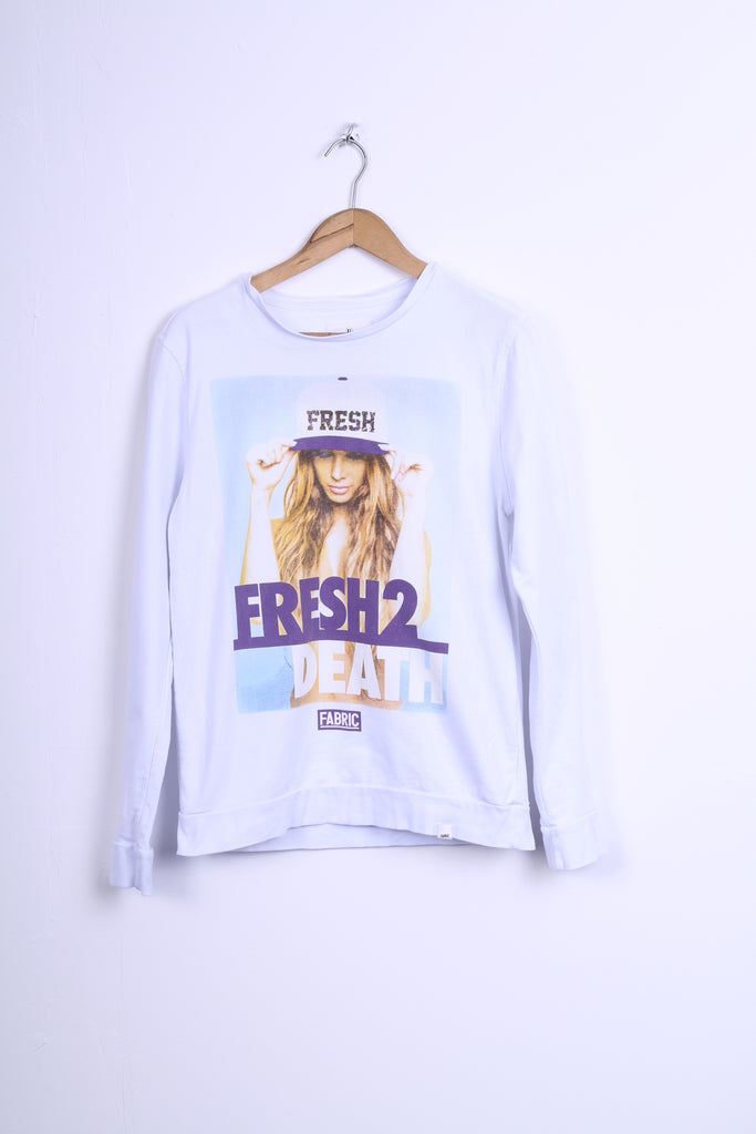 FABRIC Womens XL Sweatshirt Jumper White Fresh2 Death Cotton