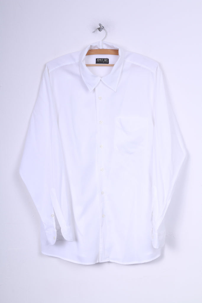 John F.Gee Mens 41/42 XL  Casual Shirt White Long Sleeve