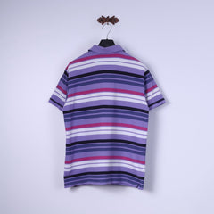James Pringle Mens XL Polo Shirt Purple Striped Cotton Classic Top