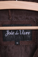 Joie de Vivre Womens 16 L Jacket Brown Geniue Suede Leather