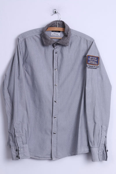 Scotch & Soda Mens L Casual Shirt Grey Cotton Daily Sportswear Light Long Sleeve