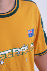 World Cup Mens XL Rugby Shirt Australia Cotton Yellow Summer Short Sleeve - RetrospectClothes