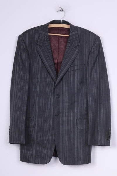 Paul Smith London Mens 38 Blazer Striped Dark Grey Single Breasted Wool