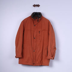 Pierre Cardin Mens L Jacket Orange Brick Padded Hidden Hood Classic Wear