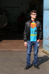 Superman Mens L T-Shirt Comic Superman Blue Top Crew Neck