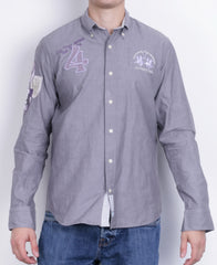 La Martina Mens M Casual Shirt Grey Cotton Buenos Aires Long Sleeve - RetrospectClothes