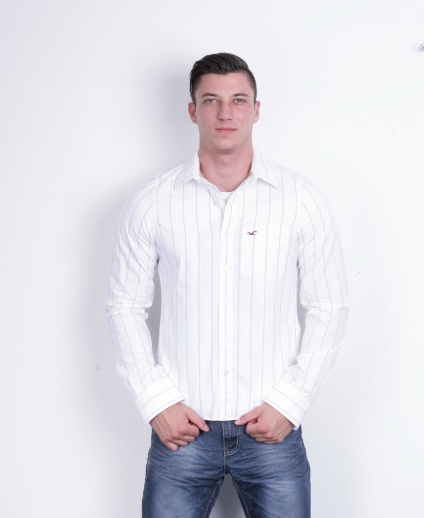 Hollister Mens M Casual Shirt White Striped Cotton Long Sleeve - RetrospectClothes