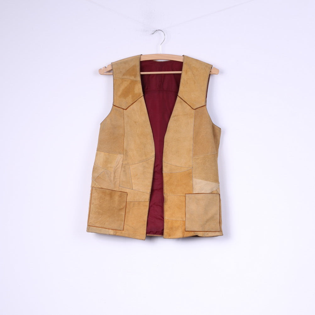 Womens M Vest Patchwork Leather Suede Camel Top