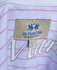 La Martina Mens L Casual Shirt Blue Cotton Buenos Aires Long Sleeve - RetrospectClothes