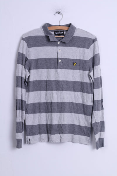 Lyle & Scott Mens L (S) Polo Shirt Grey Cotton Striped Long Sleeve Fitted Top