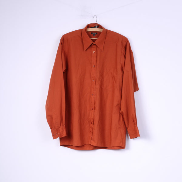 Bruttini Uomo Mens M 15-15.5 Casual Shirt Orange Long Sleeve Top