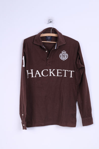 Hackett London Mens XS Polo Shirt Brown Long Sleeve Detailed Buttons Cotton Fit
