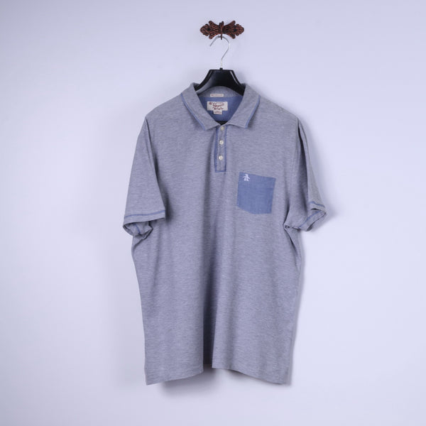 Original Penguin Mens XXL Polo Shirt Grey Cotton Heritage Slim Fit Top