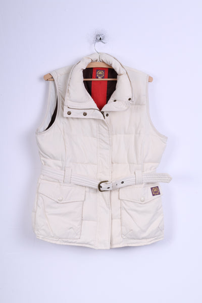 Tom Joule Womens 16 XL Bodywarmer Cream Padded Belted Vest \