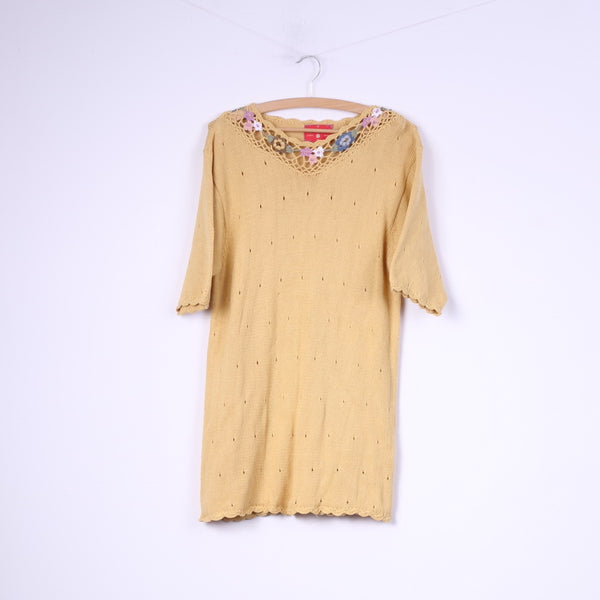 Freebody Womens S Sweater Knitwear Yellow Top Short Sleeve
