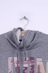 Pull&Bear Mens L Sweatshirt Grey Sport Cotton Livin For The City