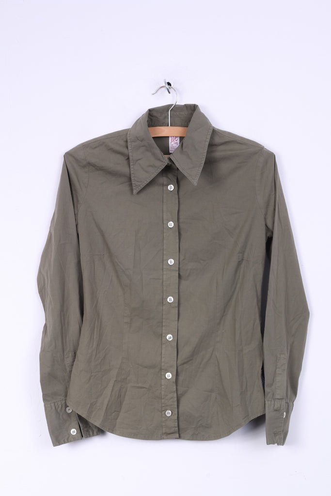 Replay Womens S Casual Shirt Khaki Cotton Slim Fit Long Sleeve