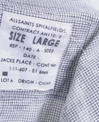 All Saints Mens L Casual Shirt Check White Grey Cotton Long Sleeve - RetrospectClothes