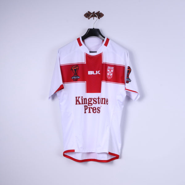 BLK England Rugby League Womens L Shirt White World Cup 2017 Jersey Top
