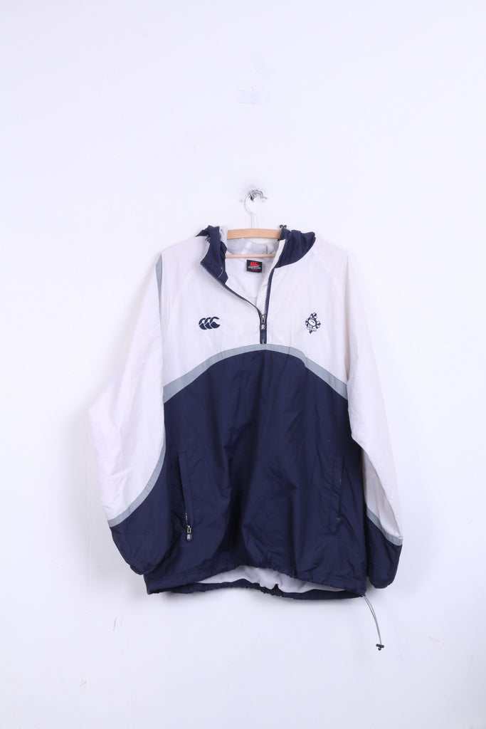 Canterbury Of New Zealand IRFU Mens XL Jacket White Hood Rugby Sport Nylon Waterproof - RetrospectClothes