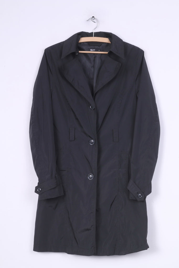 Flame Womens M Coat Single Breasted Black Vintage