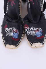 Replay Womens 3.5 eu 36 Shoes Platform Sandals Black Cotton Logo Summer