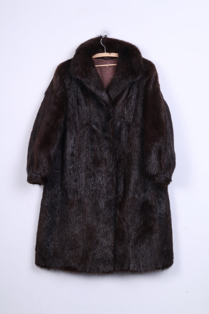 Womens XL Coat Authentic Fur Dark Brown Boho Vintage