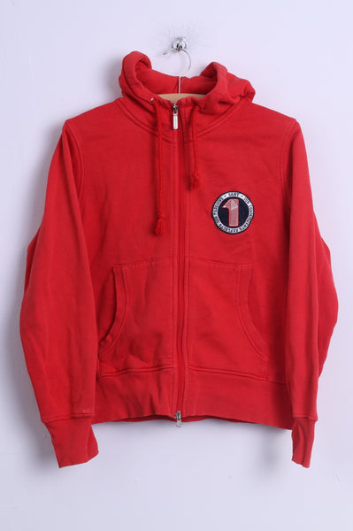 GANT Womens L Sweatshirt Red Cotton Hooded Zip Up Sportswear