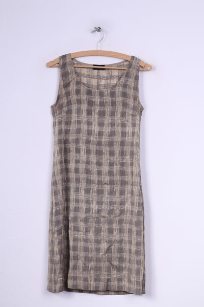 James Lakeland 42 (S)Mini Dress Check Grey Sleeveless Scoop Neck Vintage Italy