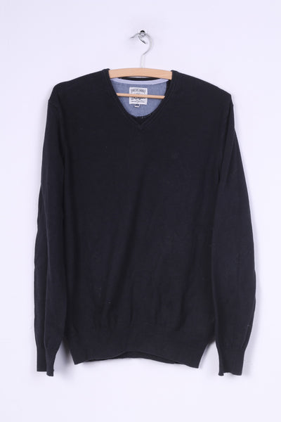 Wrangler Mens M Jumper Navy Sweater V Neck Cotton Nylon Wool