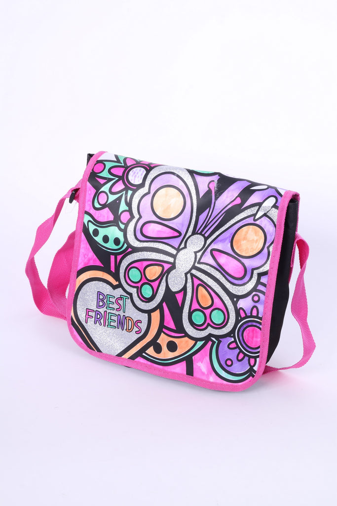 Best Friends Shoulders Bag Black Pink Butterfly