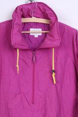 Etirel Le Style Womens XL Bomber Jacket Magenta Vintage Retro Nylon Waterproof