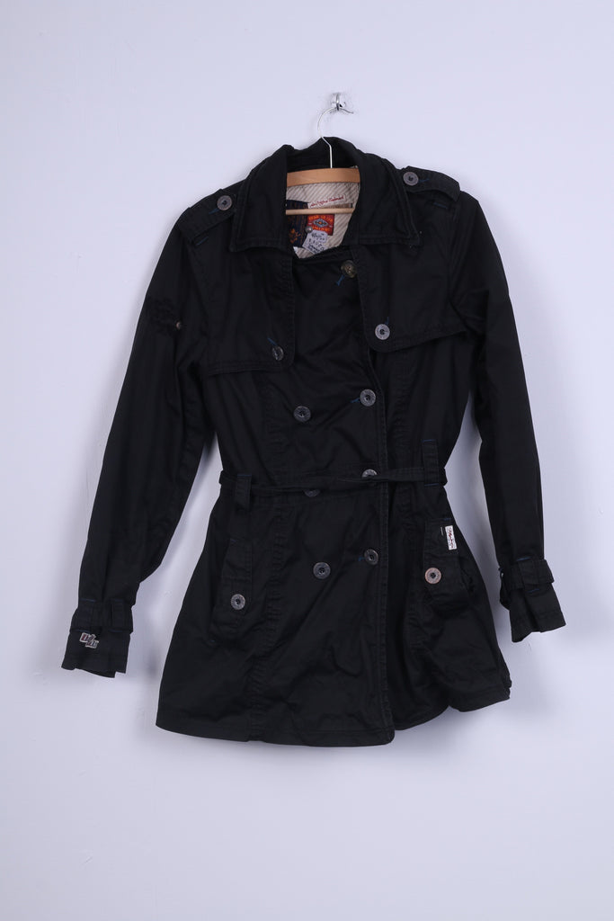 Khujo Womens XL Parka Jacket Double Breasted Black Cotton