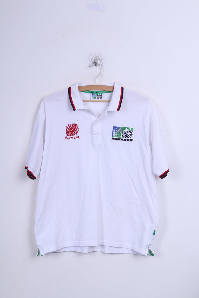Irb Rugby 2007 Mens M Polo Shirt White Cotton France Sport - RetrospectClothes