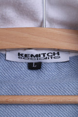 Kemitch Socialite Mens L Sweatshirt Blue CottonRochers Riders Embroidered Zip Up Top