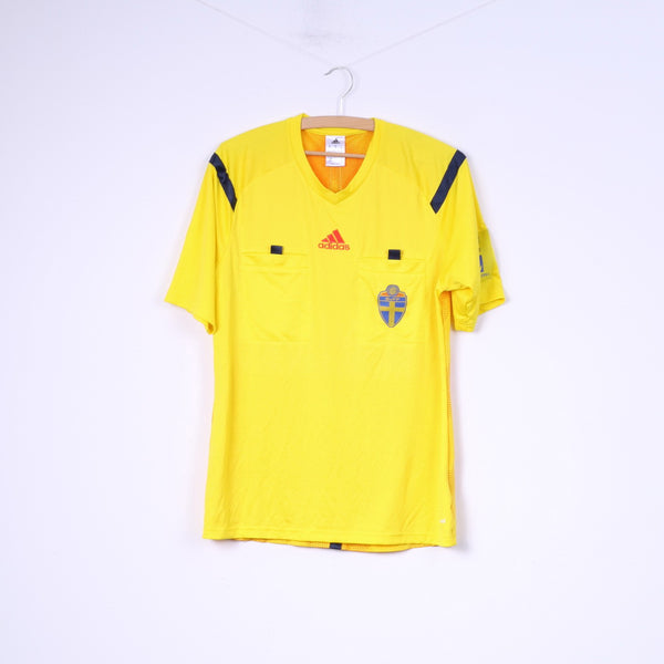 Adidas Svenska Fotbollförbundet Mens M Shirt Yellow Football Club Sportswear Top