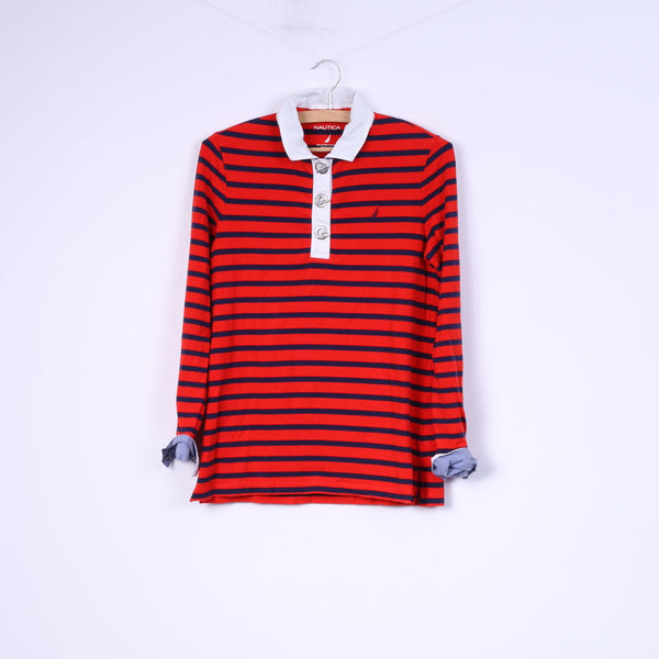 Nautica Womens M Polo Shirt Red Striped Marine Cotton Long Sleeve Stretch Top